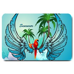 Summer Design With Cute Parrot And Palms Large Doormat
