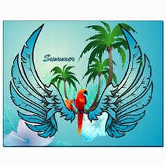 Summer Design With Cute Parrot And Palms Canvas 11  X 14