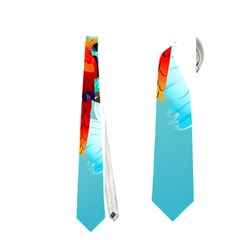 Summer Design With Cute Parrot And Palms Neckties (one Side)