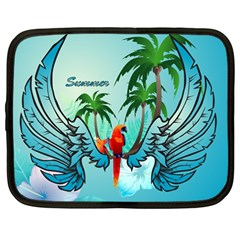 Summer Design With Cute Parrot And Palms Netbook Case (large)