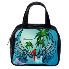 Summer Design With Cute Parrot And Palms Classic Handbags (one Side)