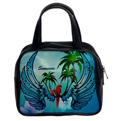 Summer Design With Cute Parrot And Palms Classic Handbags (2 Sides)