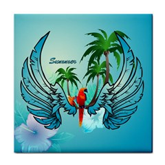 Summer Design With Cute Parrot And Palms Face Towel
