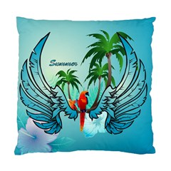 Summer Design With Cute Parrot And Palms Standard Cushion Cases (two Sides)