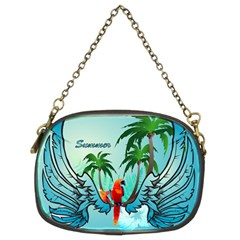 Summer Design With Cute Parrot And Palms Chain Purses (two Sides)