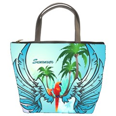 Summer Design With Cute Parrot And Palms Bucket Bags