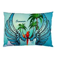 Summer Design With Cute Parrot And Palms Pillow Cases