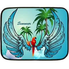 Summer Design With Cute Parrot And Palms Fleece Blanket (mini)