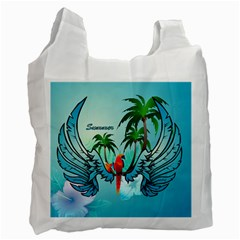 Summer Design With Cute Parrot And Palms Recycle Bag (one Side)