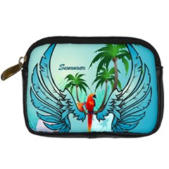 Summer Design With Cute Parrot And Palms Digital Camera Cases