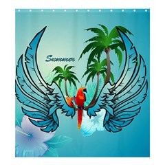 Summer Design With Cute Parrot And Palms Shower Curtain 66  X 72  (large)