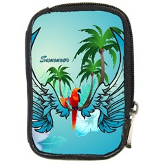Summer Design With Cute Parrot And Palms Compact Camera Cases