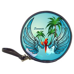 Summer Design With Cute Parrot And Palms Classic 20 Cd Wallets