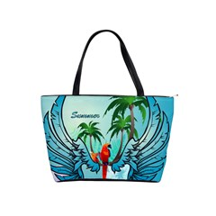 Summer Design With Cute Parrot And Palms Shoulder Handbags