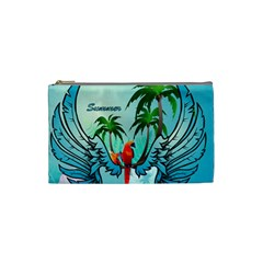Summer Design With Cute Parrot And Palms Cosmetic Bag (small)