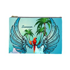 Summer Design With Cute Parrot And Palms Cosmetic Bag (large)