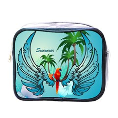 Summer Design With Cute Parrot And Palms Mini Toiletries Bags
