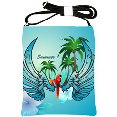 Summer Design With Cute Parrot And Palms Shoulder Sling Bags