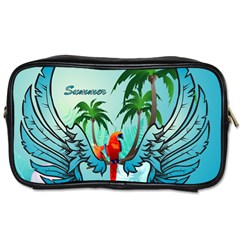 Summer Design With Cute Parrot And Palms Toiletries Bags