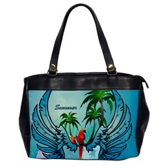 Summer Design With Cute Parrot And Palms Office Handbags by FantasyWorld7