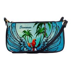 Summer Design With Cute Parrot And Palms Shoulder Clutch Bags