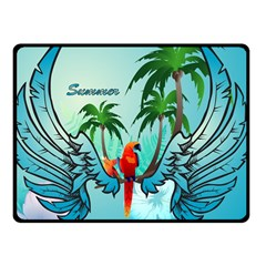 Summer Design With Cute Parrot And Palms Fleece Blanket (small)