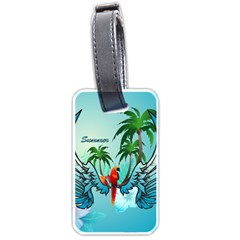 Summer Design With Cute Parrot And Palms Luggage Tags (two Sides)