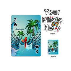 Summer Design With Cute Parrot And Palms Playing Cards 54 (mini)