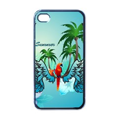 Summer Design With Cute Parrot And Palms Apple Iphone 4 Case (black)
