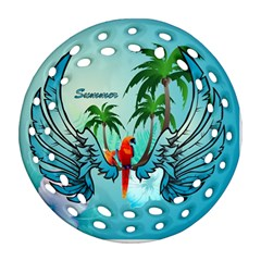 Summer Design With Cute Parrot And Palms Round Filigree Ornament (2side)
