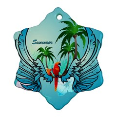 Summer Design With Cute Parrot And Palms Snowflake Ornament (2 Side)