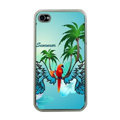 Summer Design With Cute Parrot And Palms Apple Iphone 4 Case (clear)