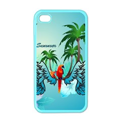 Summer Design With Cute Parrot And Palms Apple Iphone 4 Case (color)