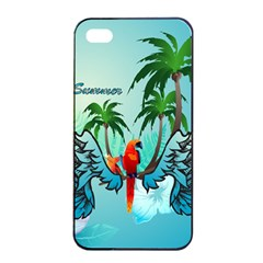 Summer Design With Cute Parrot And Palms Apple Iphone 4/4s Seamless Case (black)