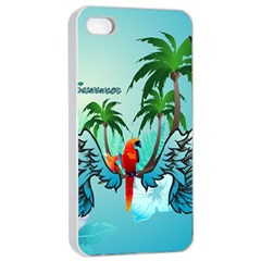 Summer Design With Cute Parrot And Palms Apple Iphone 4/4s Seamless Case (white)