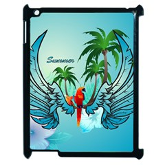 Summer Design With Cute Parrot And Palms Apple Ipad 2 Case (black)