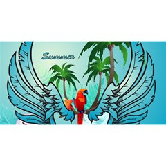 Summer Design With Cute Parrot And Palms You Are Invited 3d Greeting Card (8x4)