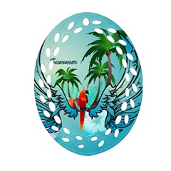 Summer Design With Cute Parrot And Palms Ornament (oval Filigree)