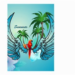 Summer Design With Cute Parrot And Palms Small Garden Flag (two Sides)