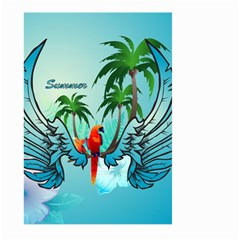 Summer Design With Cute Parrot And Palms Large Garden Flag (two Sides)