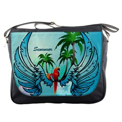 Summer Design With Cute Parrot And Palms Messenger Bags