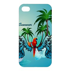 Summer Design With Cute Parrot And Palms Apple Iphone 4/4s Premium Hardshell Case