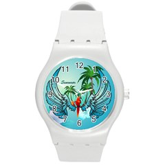 Summer Design With Cute Parrot And Palms Round Plastic Sport Watch (m)