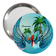 Summer Design With Cute Parrot And Palms 3  Handbag Mirrors