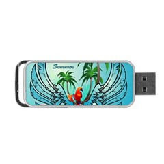 Summer Design With Cute Parrot And Palms Portable Usb Flash (two Sides)