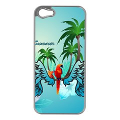 Summer Design With Cute Parrot And Palms Apple Iphone 5 Case (silver)
