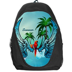 Summer Design With Cute Parrot And Palms Backpack Bag