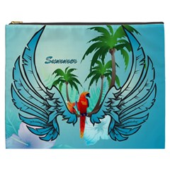 Summer Design With Cute Parrot And Palms Cosmetic Bag (xxxl)