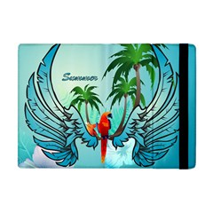 Summer Design With Cute Parrot And Palms Apple Ipad Mini Flip Case