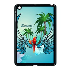 Summer Design With Cute Parrot And Palms Apple Ipad Mini Case (black)